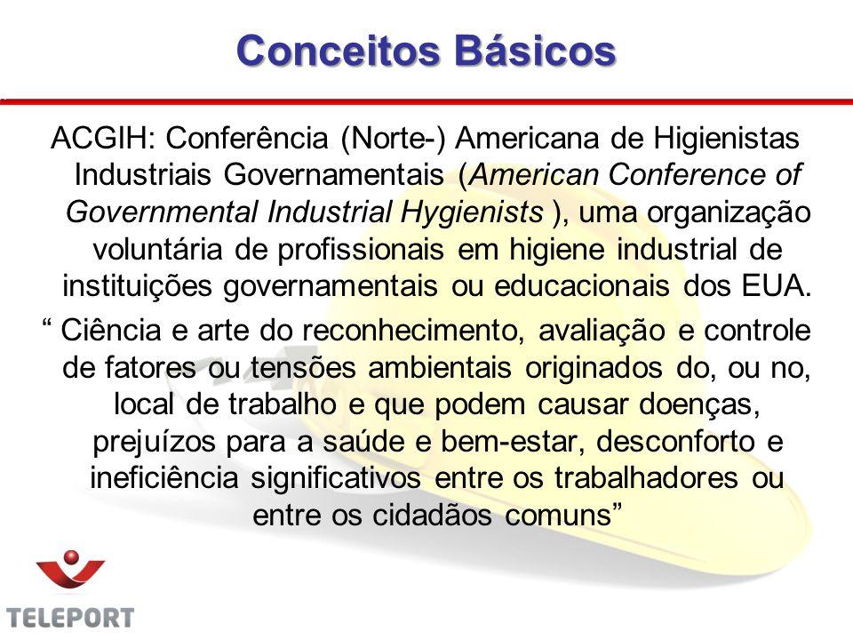 Conceitos Básicos intervenção deliberada no ambiente A atuação da higiene ocupacional prevê uma intervenção deliberada no ambiente de trabalho como forma de prevenção da doença.