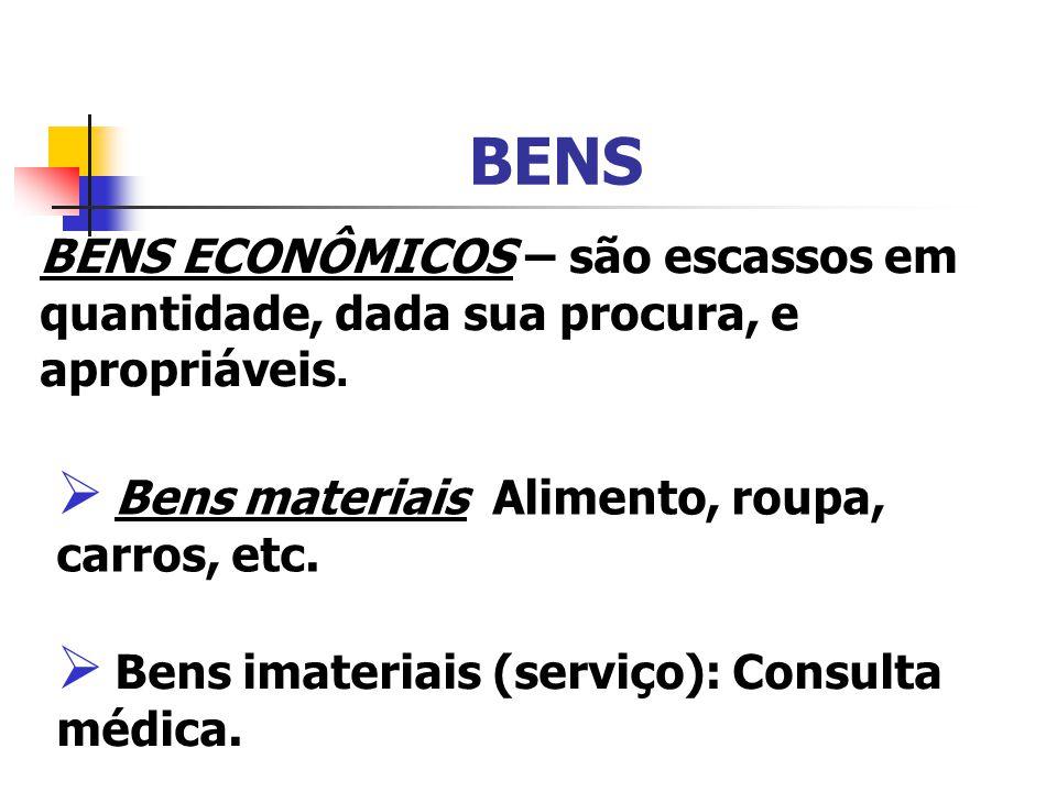 BENS BENS ECONÔMICOS – são escassos em quantidade, dada sua procura, e apropriáveis. Bens materiais Alimento, roupa, carros, etc. Bens imateriais (ser