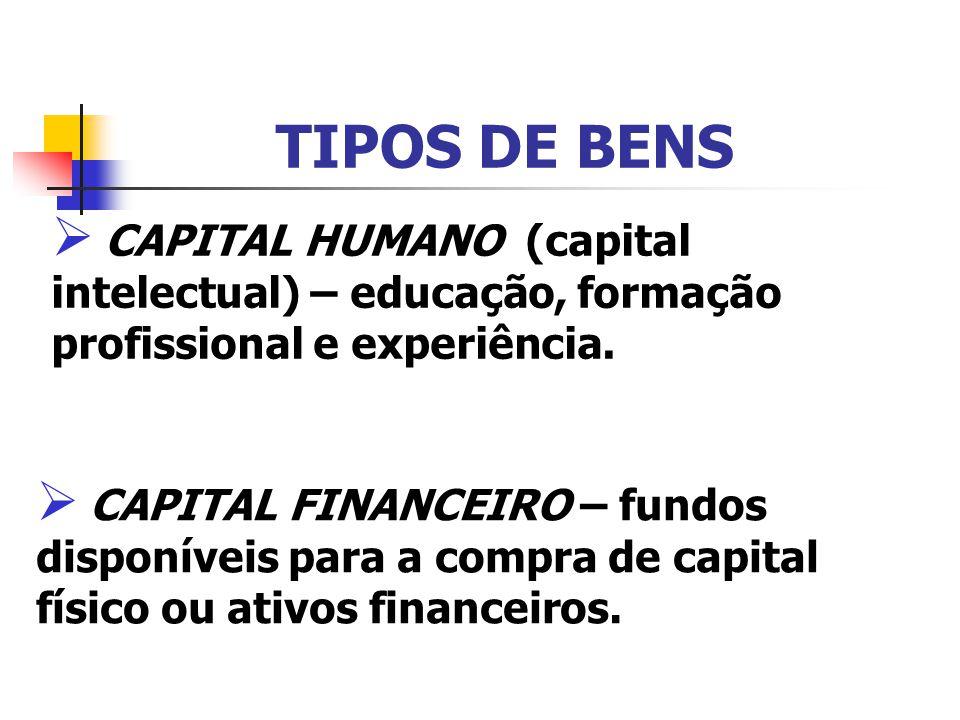 TIPOS DE BENS CAPITAL HUMANO (capital intelectual) – educação, formação profissional e experiência. CAPITAL FINANCEIRO – fundos disponíveis para a com