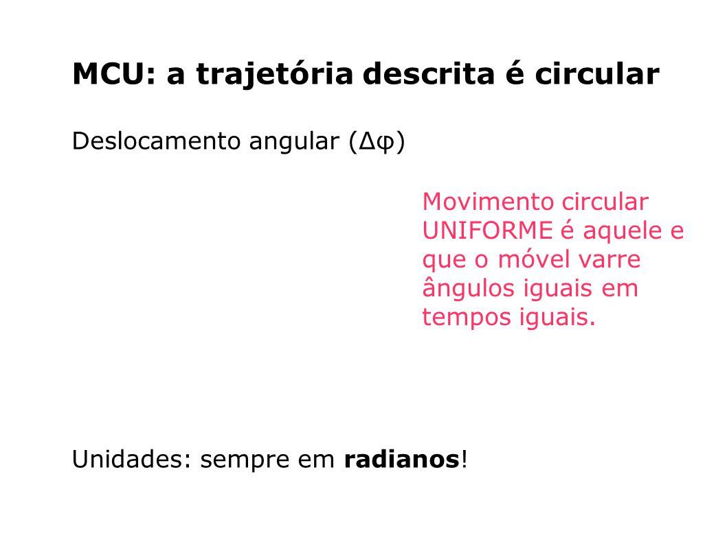 MCU: a trajetória descrita é circular Deslocamento angular (Δφ) Unidades: sempre em radianos! Movimento circular UNIFORME é aquele e que o móvel varre