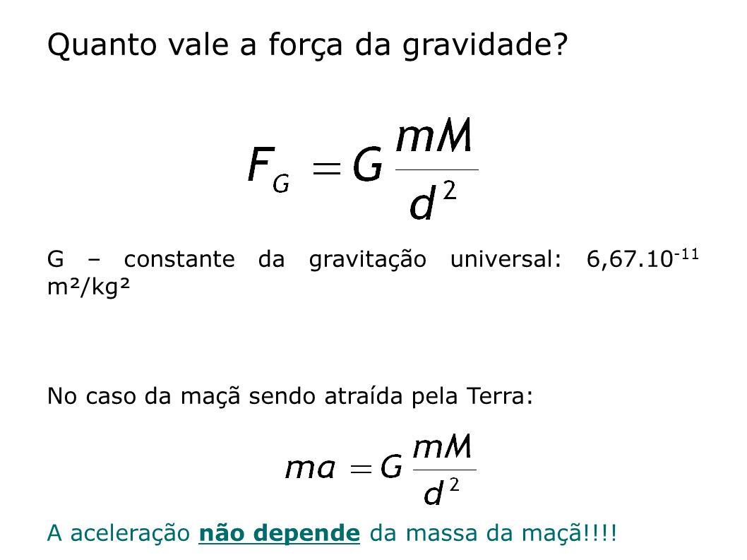Quanto vale a força da gravidade? G – constante da gravitação universal: 6,67.10 -11 m²/kg² No caso da maçã sendo atraída pela Terra: A aceleração não