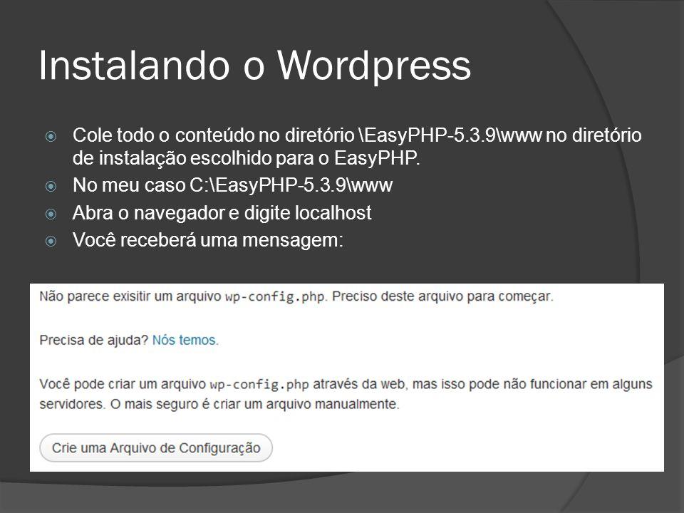 Instalando o Wordpress Cole todo o conteúdo no diretório \EasyPHP-5.3.9\www no diretório de instalação escolhido para o EasyPHP. No meu caso C:\EasyPH