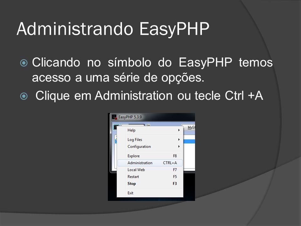 Administrando EasyPHP Clicando no símbolo do EasyPHP temos acesso a uma série de opções. Clique em Administration ou tecle Ctrl +A