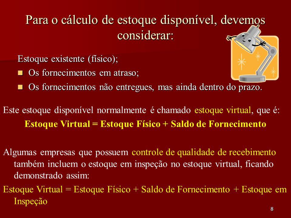 9 Devemos fazer uma nova reposição do estoque, quando o estoque virtual estiver abaixo ou igual a quantidade predeterminada, como adequado que é o ponto de ressuprimento ou ponto de pedido.