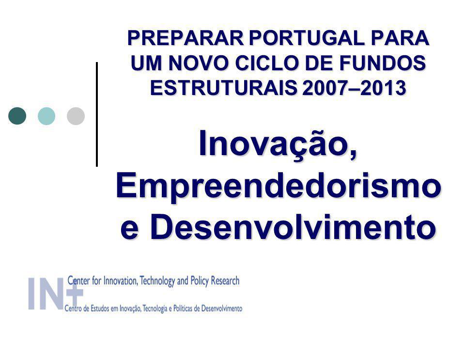 PREPARAR PORTUGAL PARA UM NOVO CICLO DE FUNDOS ESTRUTURAIS 2007–2013 Inovação, Empreendedorismo e Desenvolvimento