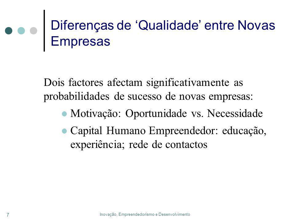 Inovação, Empreendedorismo e Desenvolvimento 7 Diferenças de Qualidade entre Novas Empresas Dois factores afectam significativamente as probabilidades de sucesso de novas empresas: Motivação: Oportunidade vs.