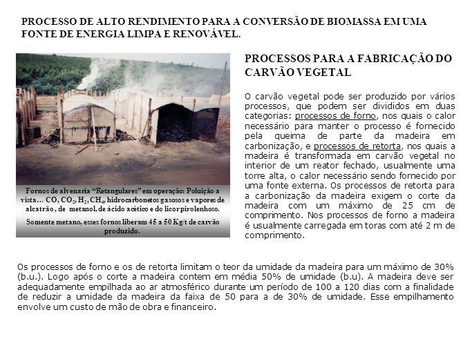 PROCESSOS PARA A FABRICAÇÃO DO CARVÃO VEGETAL No Brasil somente o primitivo processo de forno tem sido usado na fabricação de carvão vegetal, que tem as seguintes desvantagens: Queima de parte da madeira enfornada para fornecer a energia necessária ao processo.