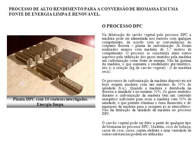 O PROCESSO DPC Na fabricação do carvão vegetal pelo processo DPC a madeira pode ser alimentada nos reatores com qualquer comprimento, de acordo com as