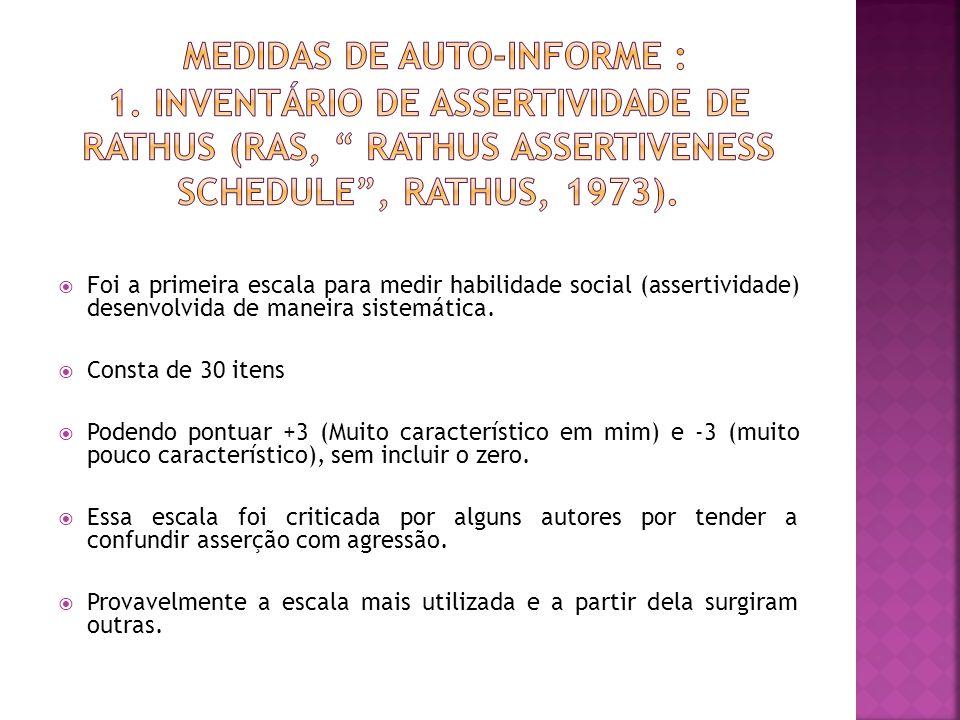 Foi a primeira escala para medir habilidade social (assertividade) desenvolvida de maneira sistemática.