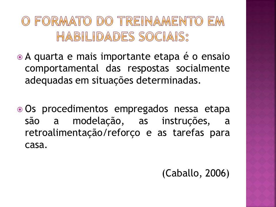 A quarta e mais importante etapa é o ensaio comportamental das respostas socialmente adequadas em situações determinadas.