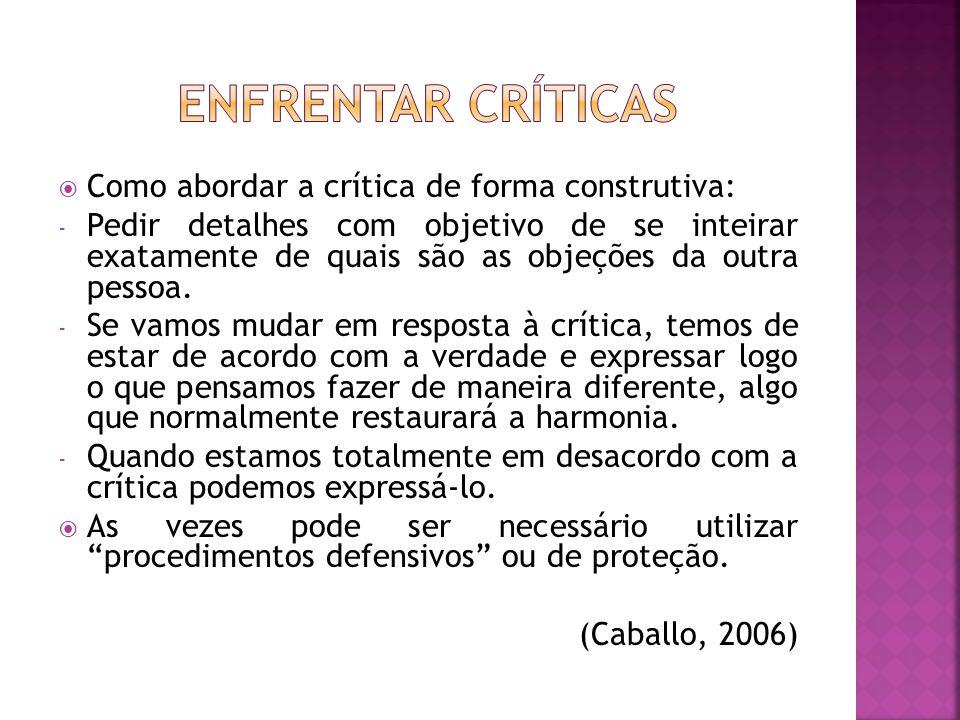 Como abordar a crítica de forma construtiva: - Pedir detalhes com objetivo de se inteirar exatamente de quais são as objeções da outra pessoa.