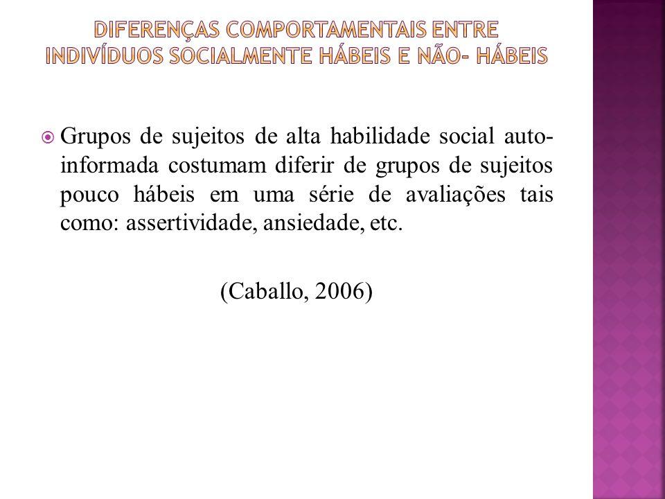 Elementos diferenciadores entre indivíduos de alta e baixa habilidade social segundo freqüência, quantidade ou duração: (Caballo, 2006)