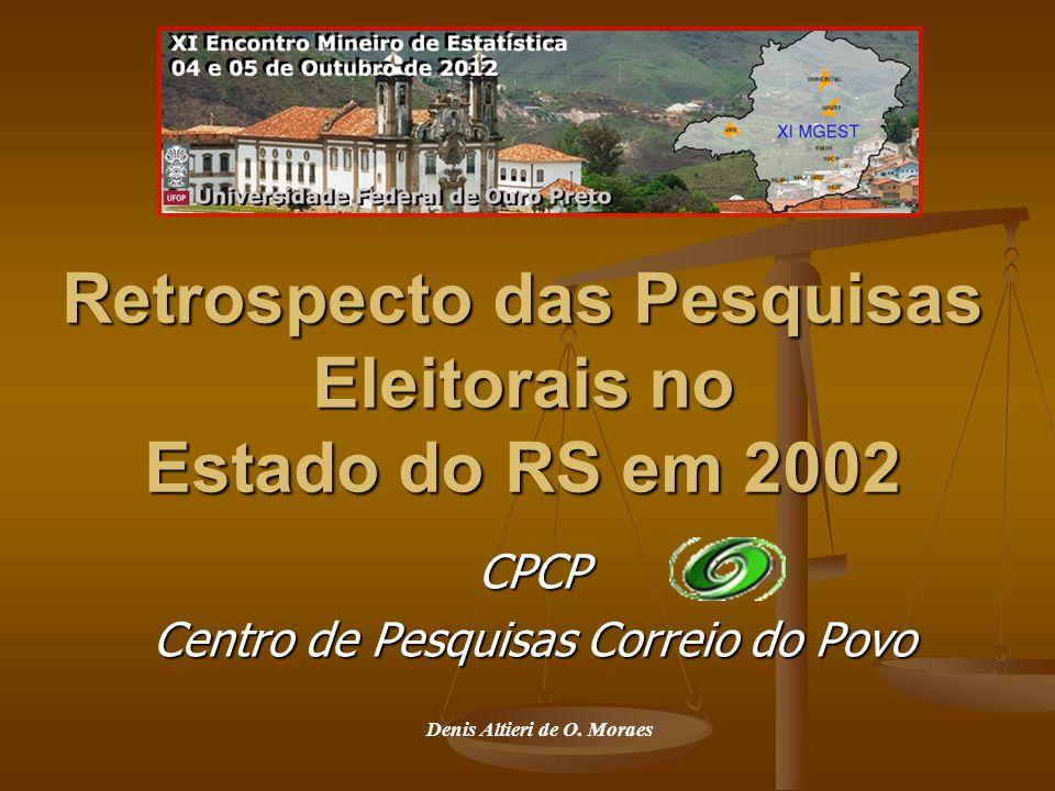 Retrospecto das Pesquisas Eleitorais no Estado do RS em 2002 CPCP Centro de Pesquisas Correio do Povo Denis Altieri de O.