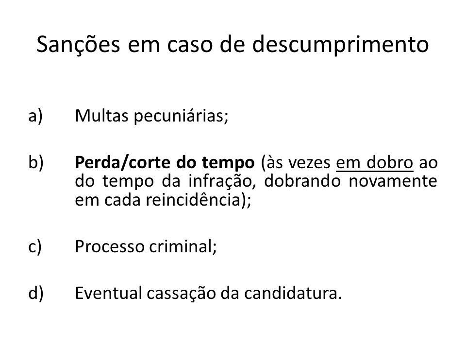 Sanções em caso de descumprimento a)Multas pecuniárias; b)Perda/corte do tempo (às vezes em dobro ao do tempo da infração, dobrando novamente em cada