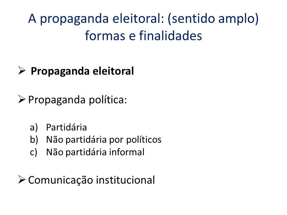 A propaganda eleitoral: (sentido amplo) formas e finalidades Propaganda eleitoral Propaganda política: a)Partidária b)Não partidária por políticos c)N