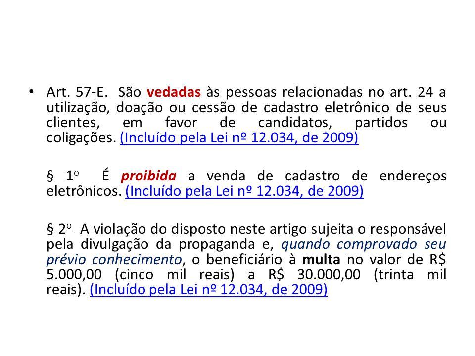 Art. 57-E. São vedadas às pessoas relacionadas no art. 24 a utilização, doação ou cessão de cadastro eletrônico de seus clientes, em favor de candidat