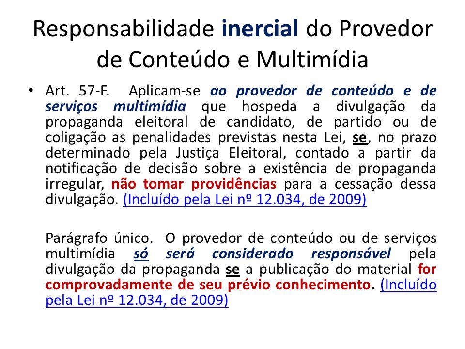 Responsabilidade inercial do Provedor de Conteúdo e Multimídia Art. 57-F. Aplicam-se ao provedor de conteúdo e de serviços multimídia que hospeda a di