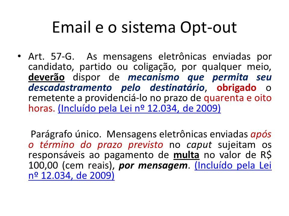 Email e o sistema Opt-out Art. 57-G. As mensagens eletrônicas enviadas por candidato, partido ou coligação, por qualquer meio, deverão dispor de mecan
