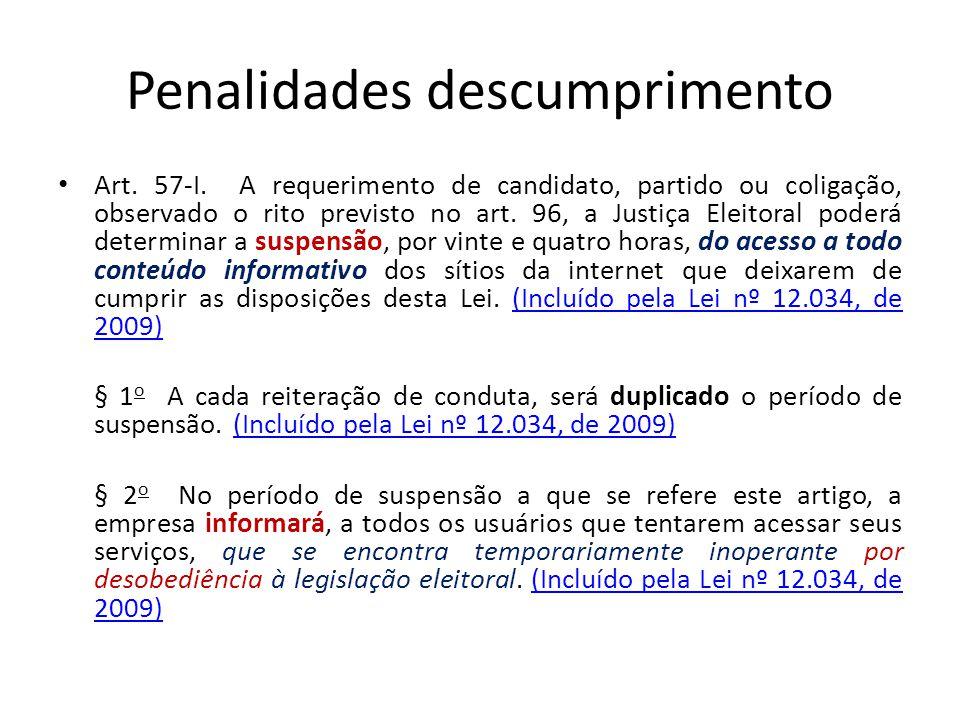 Penalidades descumprimento Art. 57-I. A requerimento de candidato, partido ou coligação, observado o rito previsto no art. 96, a Justiça Eleitoral pod