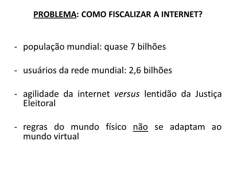 PROBLEMA: COMO FISCALIZAR A INTERNET? -população mundial: quase 7 bilhões -usuários da rede mundial: 2,6 bilhões -agilidade da internet versus lentidã