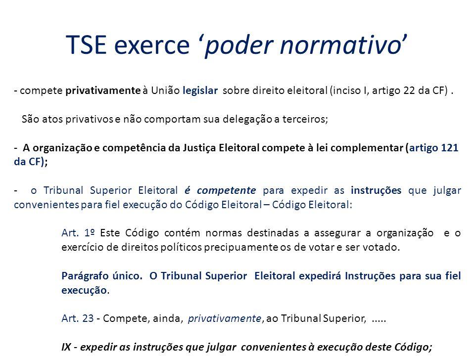 TSE exerce poder normativo - compete privativamente à União legislar sobre direito eleitoral (inciso I, artigo 22 da CF). São atos privativos e não co