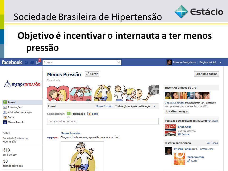 Sociedade Brasileira de Hipertensão Objetivo é incentivar o internauta a ter menos pressão