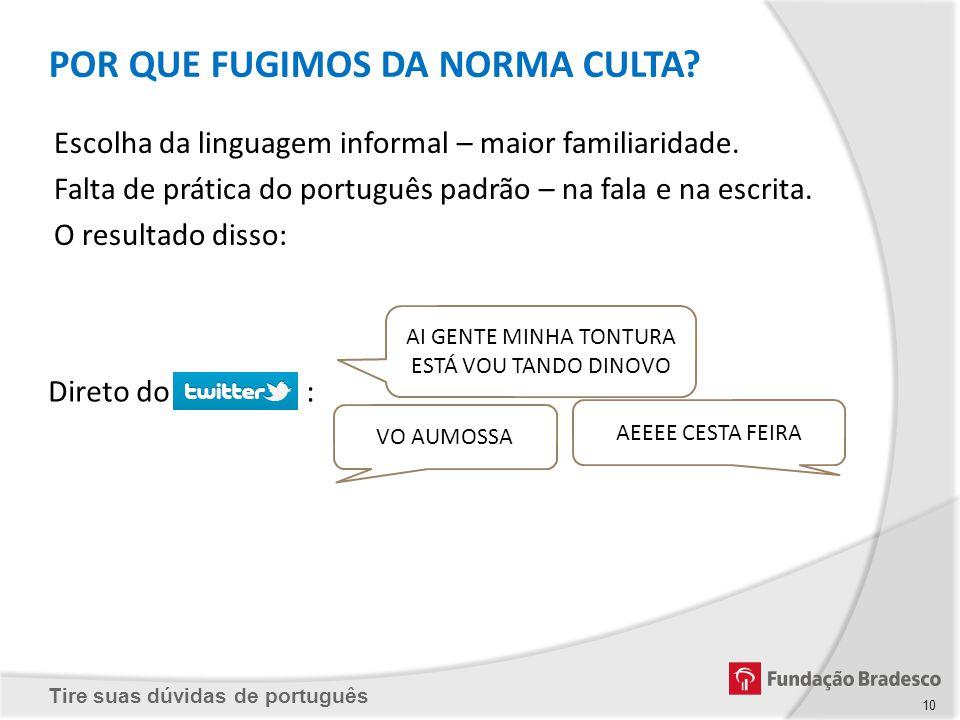 Tire suas dúvidas de português 10 Escolha da linguagem informal – maior familiaridade. Falta de prática do português padrão – na fala e na escrita. O