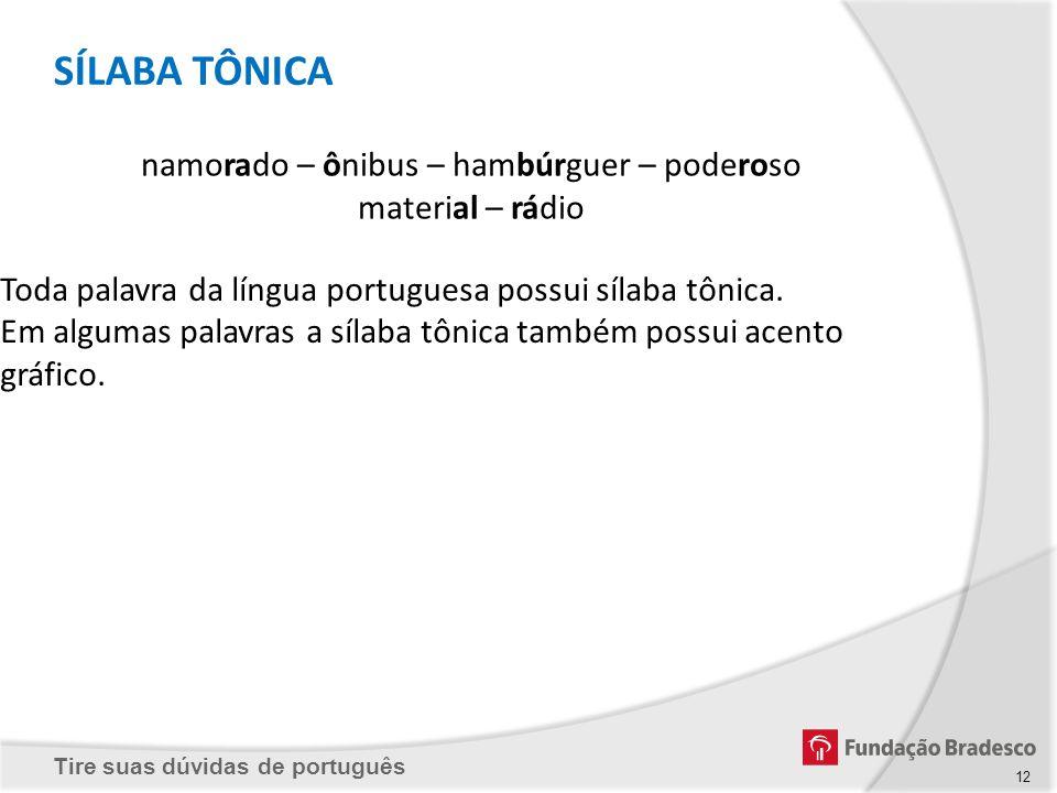 Tire suas dúvidas de português 12 Toda palavra da língua portuguesa possui sílaba tônica. Em algumas palavras a sílaba tônica também possui acento grá