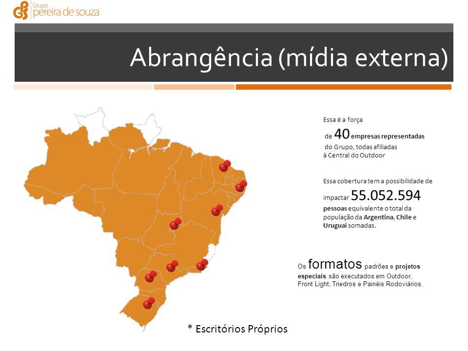 Abrangência (mídia externa) Essa é a força de 40 empresas representadas do Grupo, todas afiliadas à Central do Outdoor Essa cobertura tem a possibilidade de impactar 55.052.594 pessoas equivalente o total da população da Argentina, Chile e Uruguai somadas.