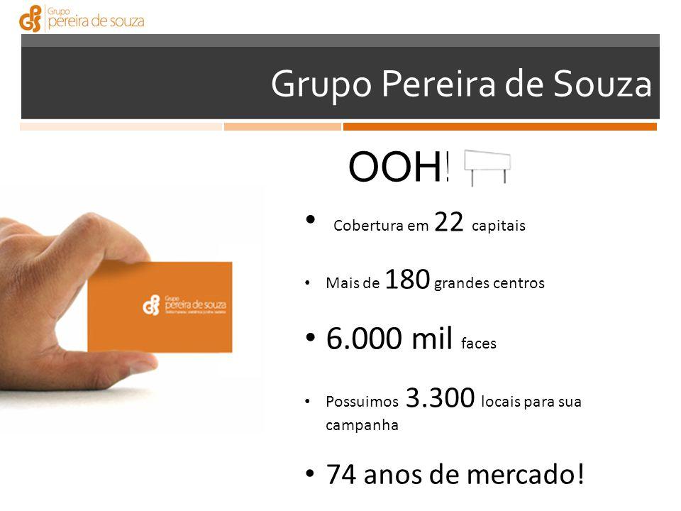 Grupo Pereira de Souza Cobertura em 22 capitais Mais de 180 grandes centros 6.000 mil faces Possuimos 3.300 locais para sua campanha 74 anos de mercado.