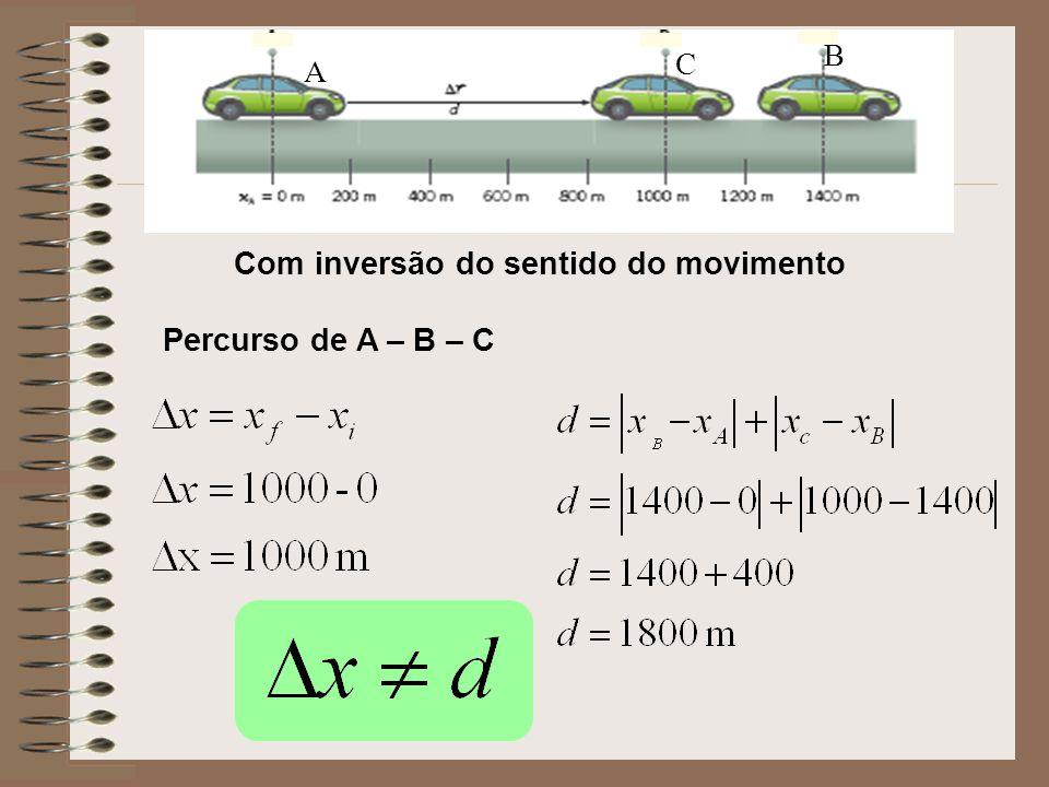 Com inversão do sentido do movimento Percurso de A – B – C B C A