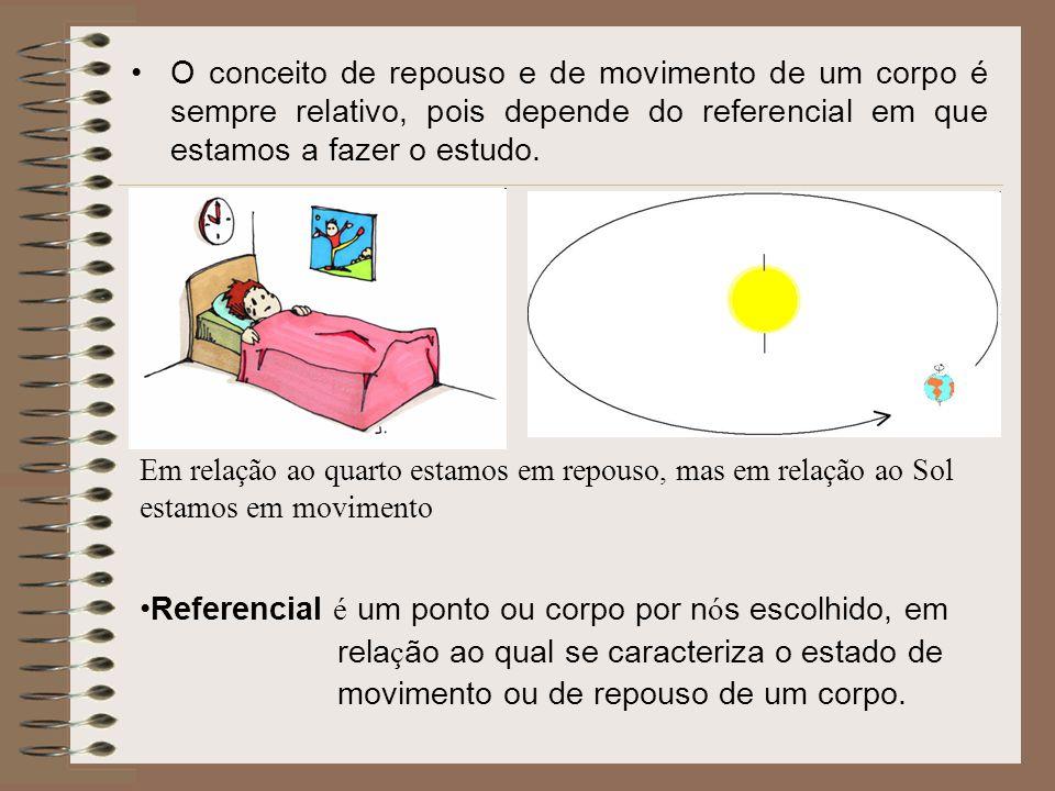 O conceito de repouso e de movimento de um corpo é sempre relativo, pois depende do referencial em que estamos a fazer o estudo. Em relação ao quarto