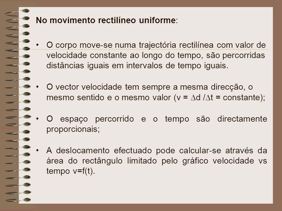 No movimento rectilíneo uniforme: O corpo move-se numa trajectória rectilínea com valor de velocidade constante ao longo do tempo, são percorridas dis
