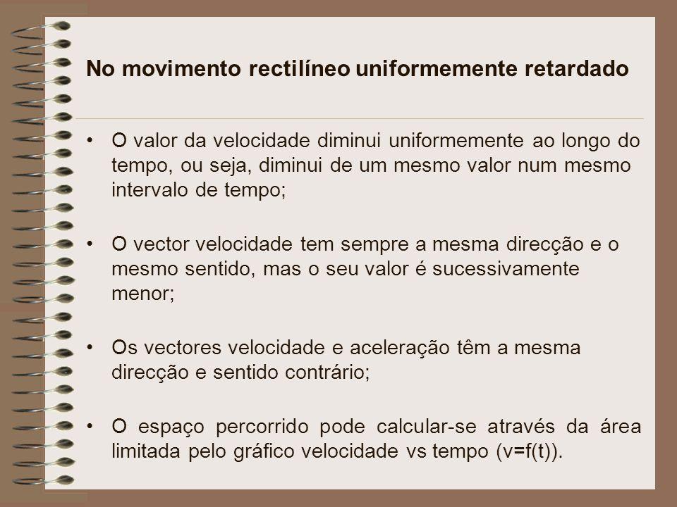 No movimento rectilíneo uniformemente retardado O valor da velocidade diminui uniformemente ao longo do tempo, ou seja, diminui de um mesmo valor num