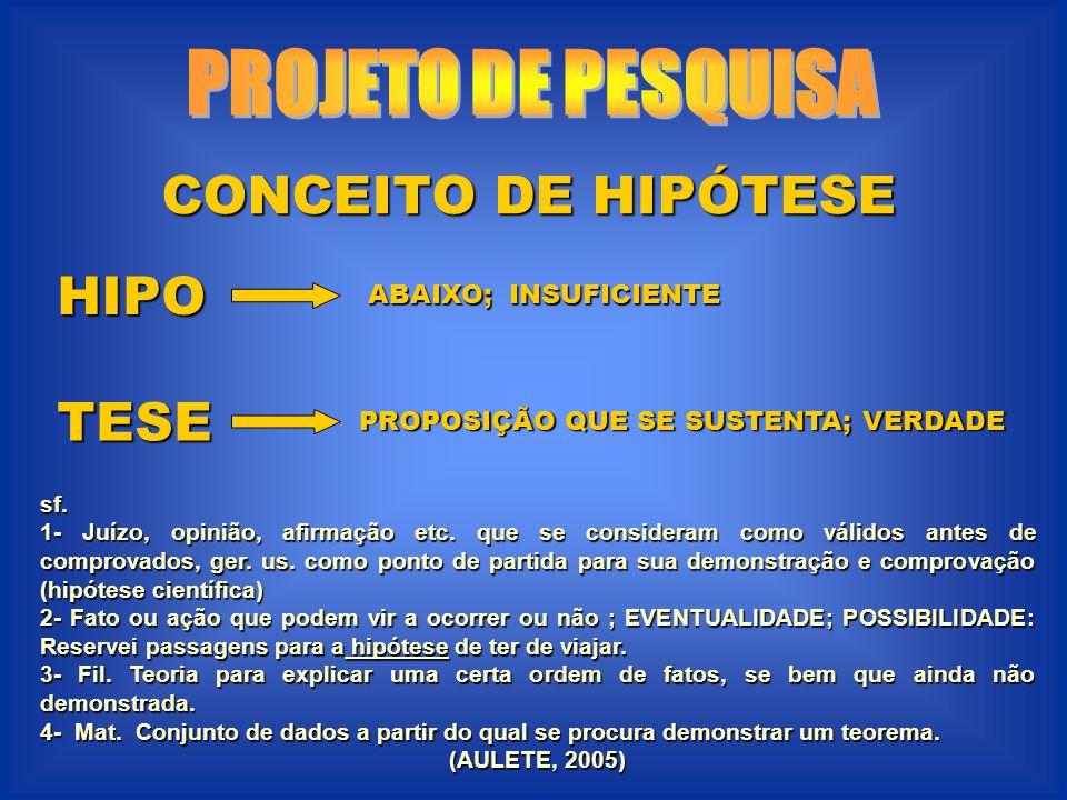 CONCEITO DE HIPÓTESE HIPO TESE sf.1- Juízo, opinião, afirmação etc.