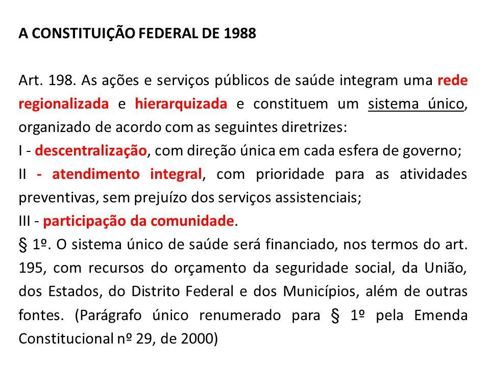 A CONSTITUIÇÃO FEDERAL DE 1988 Art. 198. As ações e serviços públicos de saúde integram uma rede regionalizada e hierarquizada e constituem um sistema