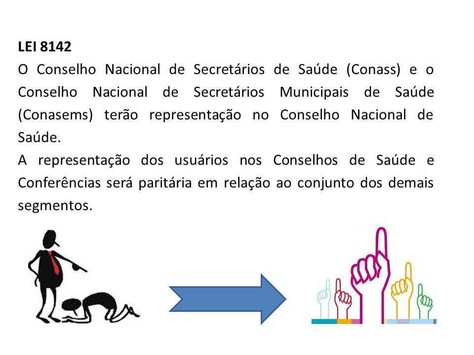 LEI 8142 O Conselho Nacional de Secretários de Saúde (Conass) e o Conselho Nacional de Secretários Municipais de Saúde (Conasems) terão representação