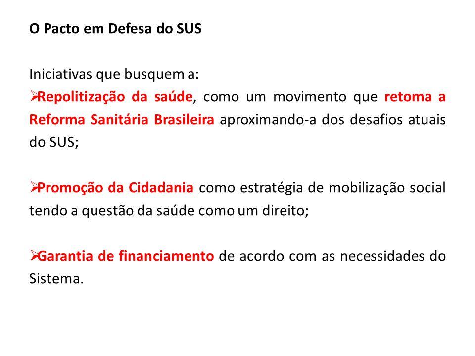 O Pacto em Defesa do SUS Iniciativas que busquem a: Repolitização da saúde, como um movimento que retoma a Reforma Sanitária Brasileira aproximando-a