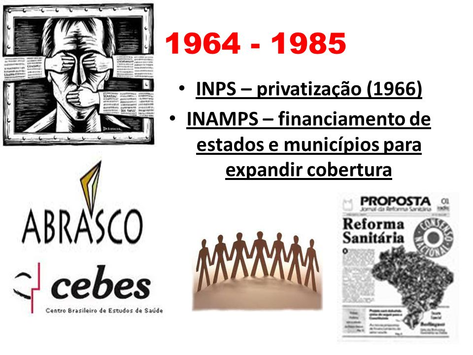 1964 - 1985 INPS – privatização (1966) INAMPS – financiamento de estados e municípios para expandir cobertura