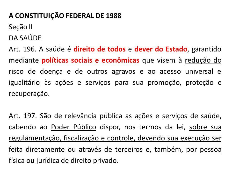 A CONSTITUIÇÃO FEDERAL DE 1988 Seção II DA SAÚDE Art. 196. A saúde é direito de todos e dever do Estado, garantido mediante políticas sociais e econôm