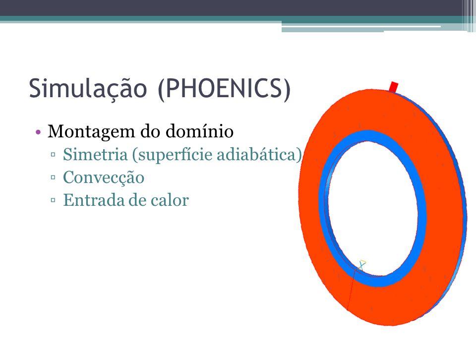 Simulação (PHOENICS) Montagem do domínio Simetria (superfície adiabática) Convecção Entrada de calor