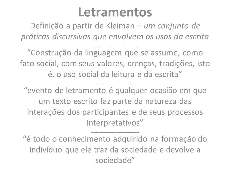 Letramentos Definição a partir de Kleiman – um conjunto de práticas discursivas que envolvem os usos da escrita _____________________ Construção da li