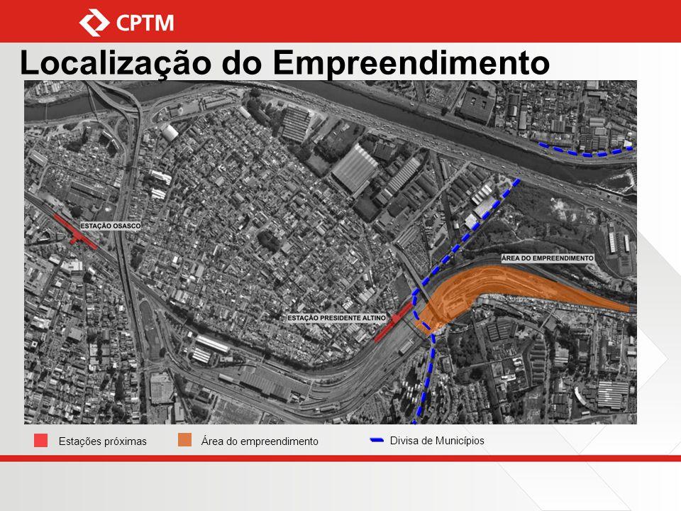 Estações próximasÁrea do empreendimento Divisa de Municípios Localização do Empreendimento