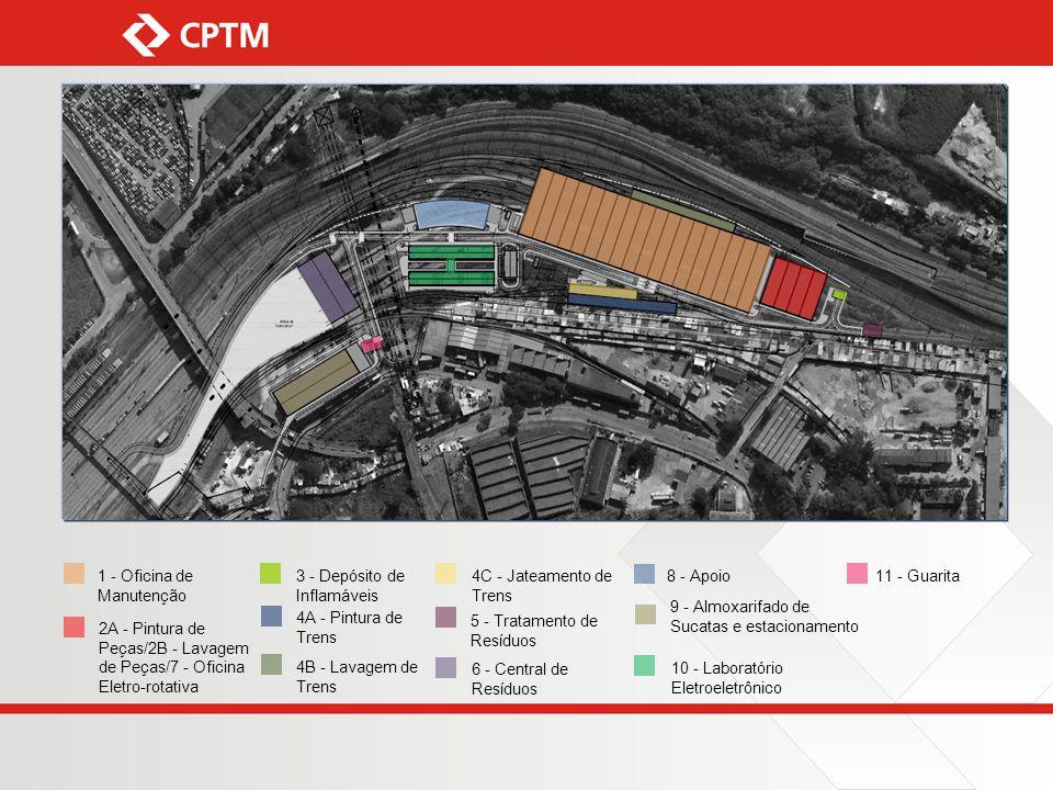 6 - Central de Resíduos 9 - Almoxarifado de Sucatas e estacionamento 10 - Laboratório Eletroeletrônico 11 - Guarita8 - Apoio4C - Jateamento de Trens 4