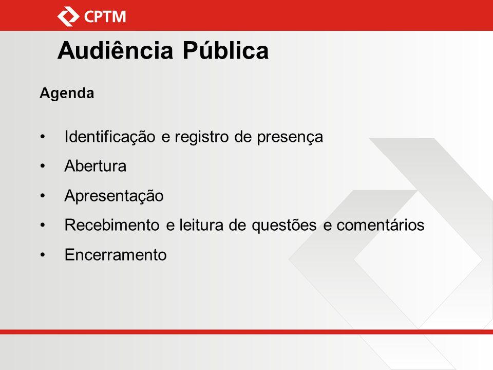 Audiência Pública Agenda Identificação e registro de presença Abertura Apresentação Recebimento e leitura de questões e comentários Encerramento