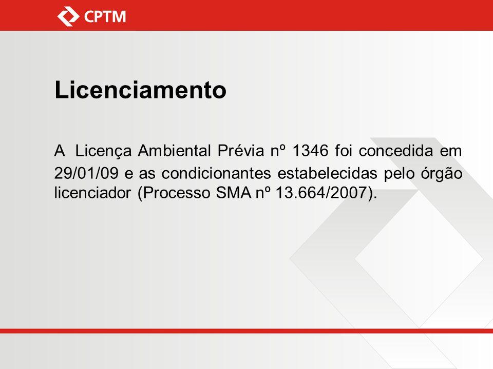 Licenciamento A Licença Ambiental Prévia nº 1346 foi concedida em 29/01/09 e as condicionantes estabelecidas pelo órgão licenciador (Processo SMA nº 1
