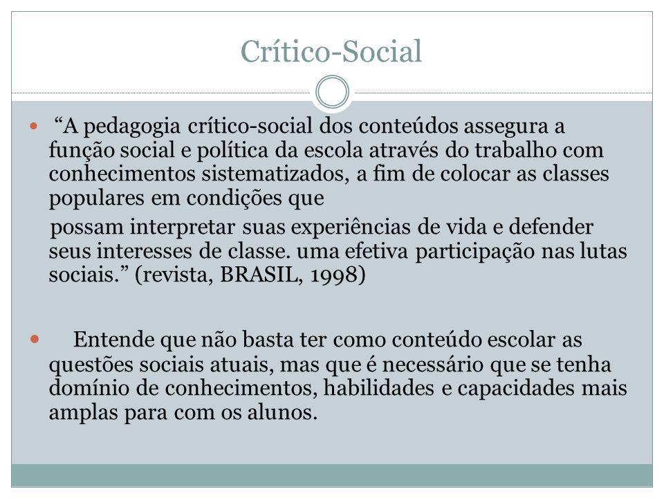 Crítico-Social A pedagogia crítico-social dos conteúdos assegura a função social e política da escola através do trabalho com conhecimentos sistematiz