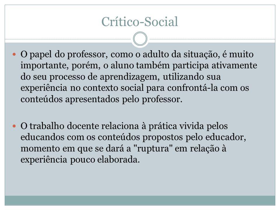 Crítico-Social O papel do professor, como o adulto da situação, é muito importante, porém, o aluno também participa ativamente do seu processo de apre