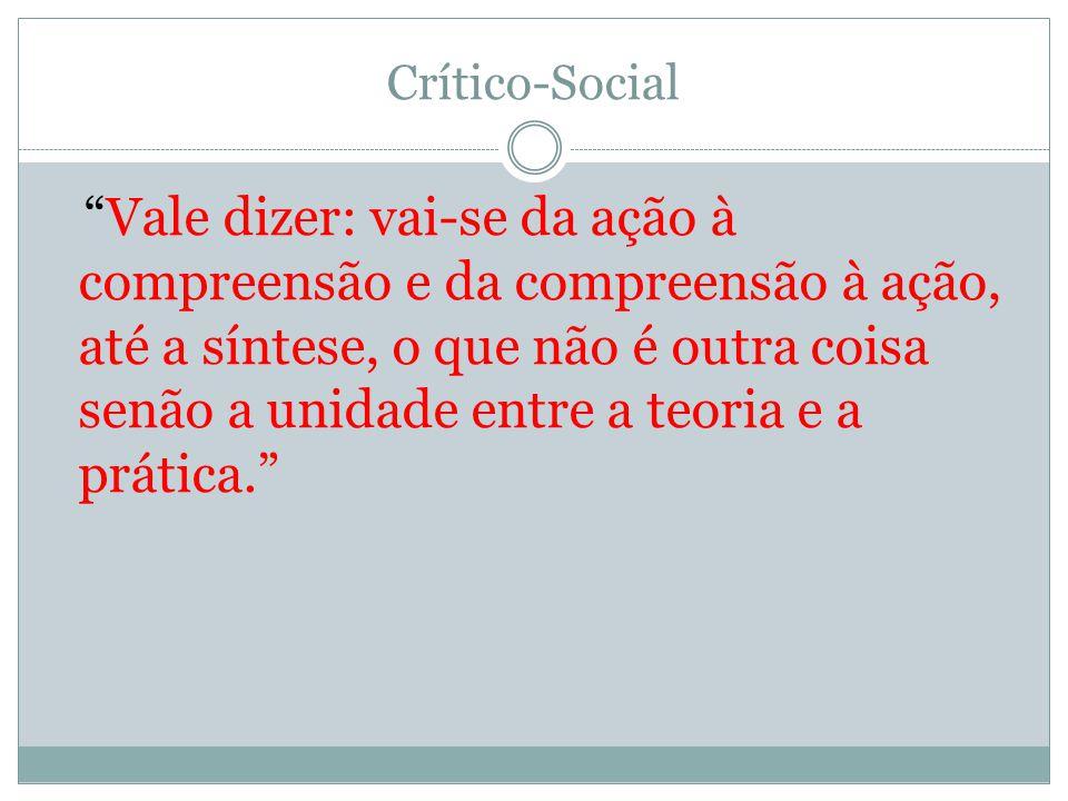 Crítico-Social Vale dizer: vai-se da ação à compreensão e da compreensão à ação, até a síntese, o que não é outra coisa senão a unidade entre a teoria