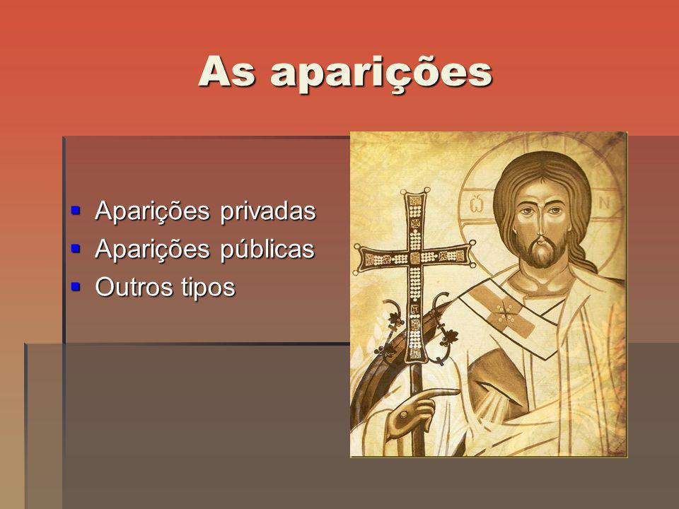 As aparições Aparições privadas Aparições privadas Aparições públicas Aparições públicas Outros tipos Outros tipos